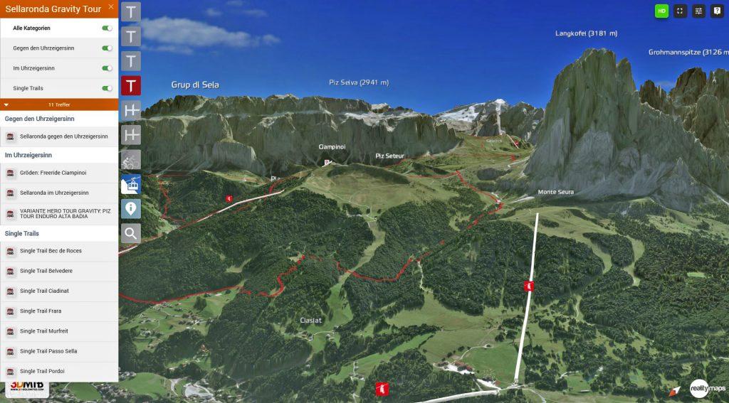 3D Karte MTB Dolomites