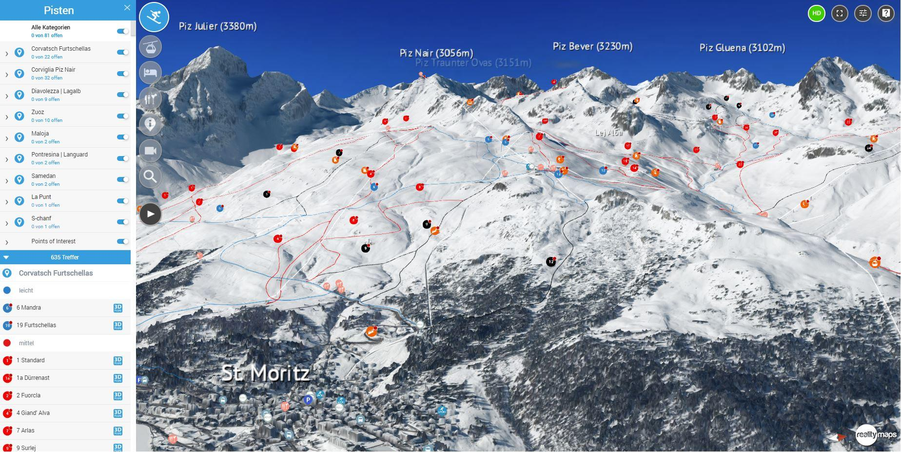 Engadin-St. Moritz & Davos-Klosters in 3D » Winter | 3D RealityMaps