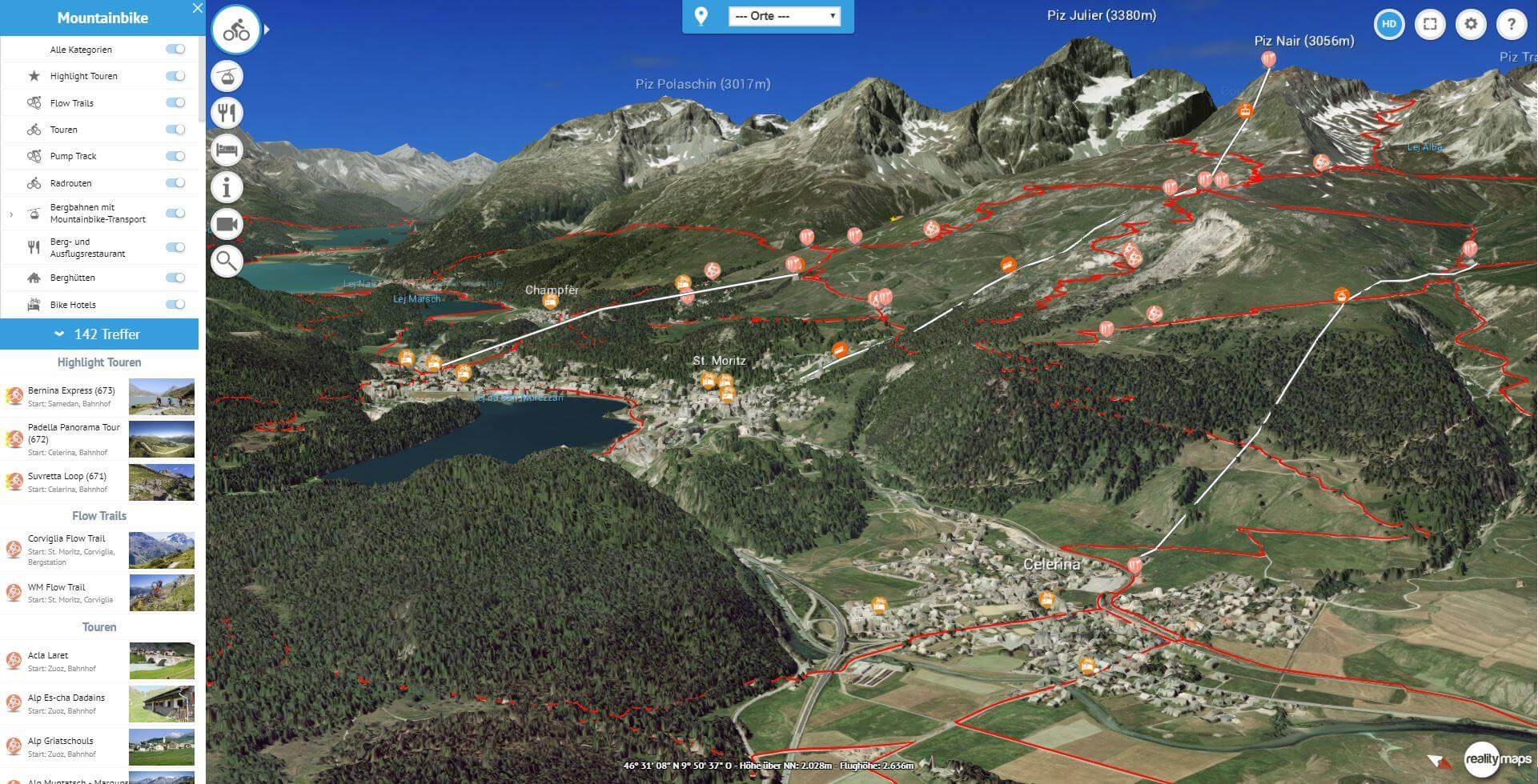 Engadin-St. Moritz & Davos-Klosters in 3D » Sommer | 3D RealityMaps