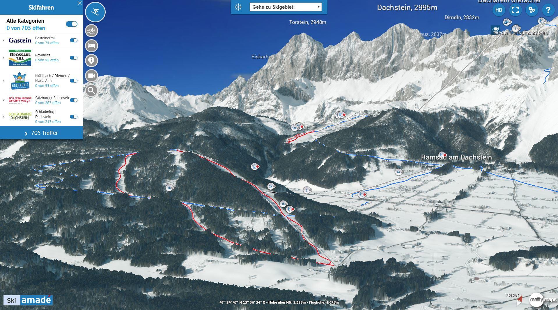 Neue Version der 3D-Karte Ski Amadé