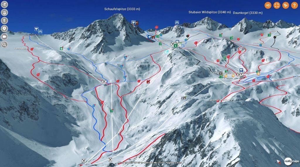 3D Karte Stubaier Gletscher