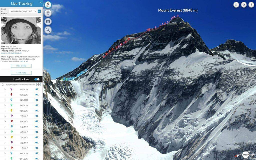 3D Karte Everest Livetracking