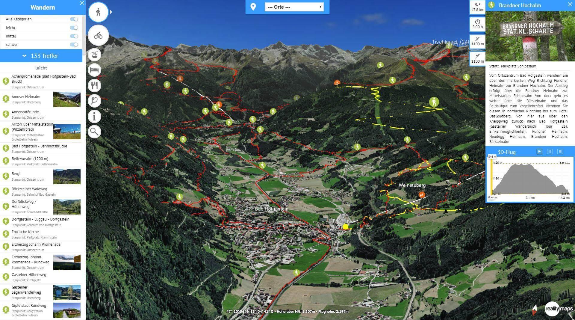 Das Gasteinertal jetzt mit 3D-Karte