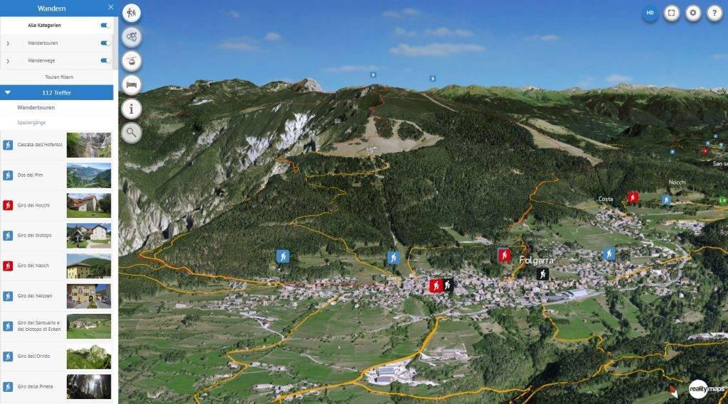 3D Karte Alpe Cimbra