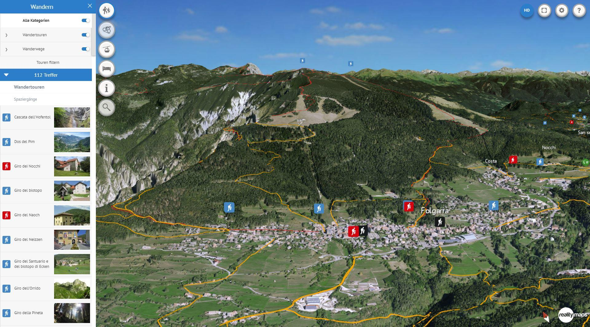 Tourismusregion Alpe Cimbra in 3D