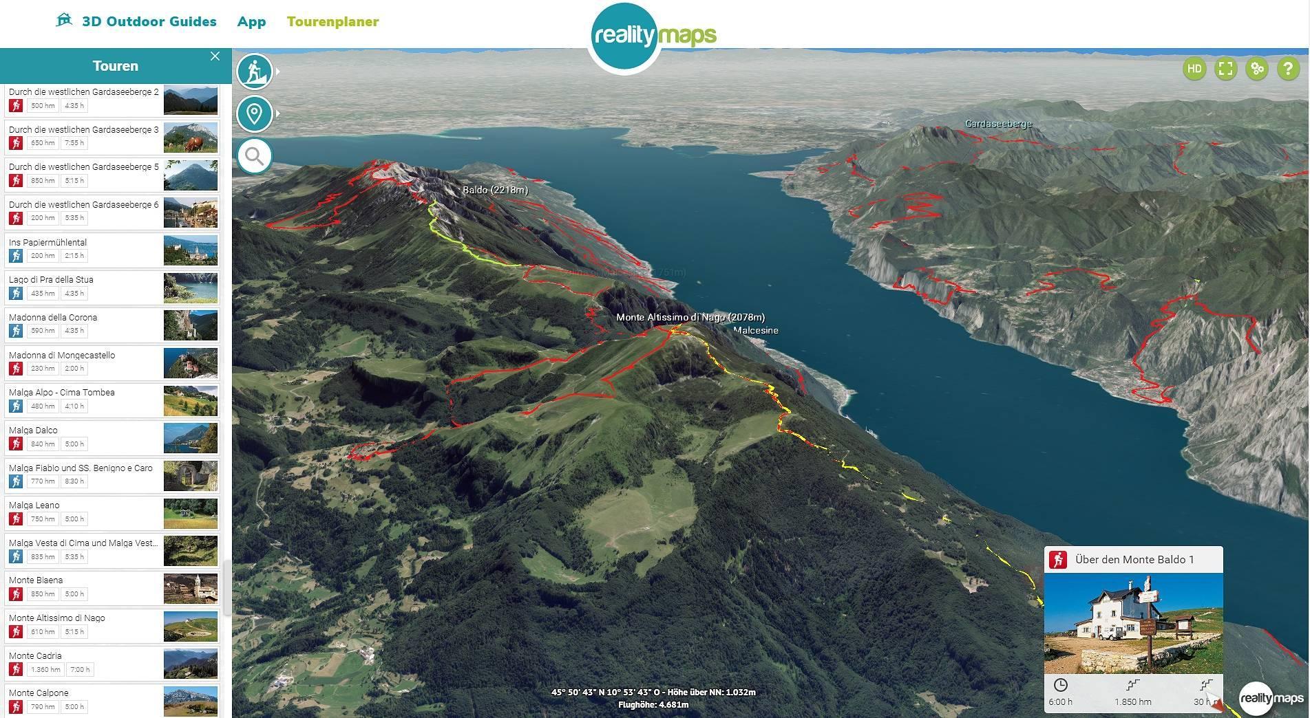 Neu im Tourenplaner: der Gardasee