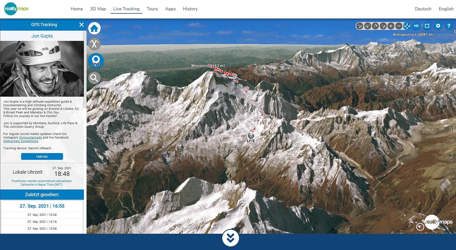 Jon Gupta am Manaslu (8163 m) erfolgreich